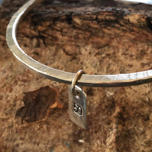Made To Order -Flat Hammered Bangle with Rectangular Charm - 925 Silver