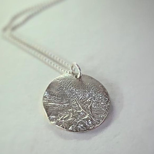 Large Round Reticulated Pendant - 925 Sterling Silver