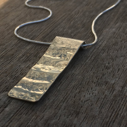 Rectangular Wave Pendant – 925 Sterling Silver