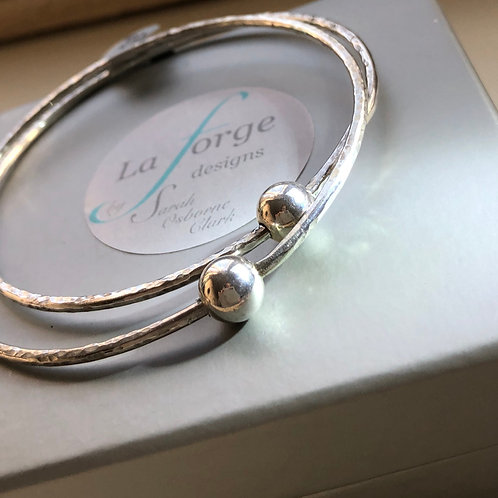 Made To Order -Single Bangle with Round Bead -925 Sterling Silver