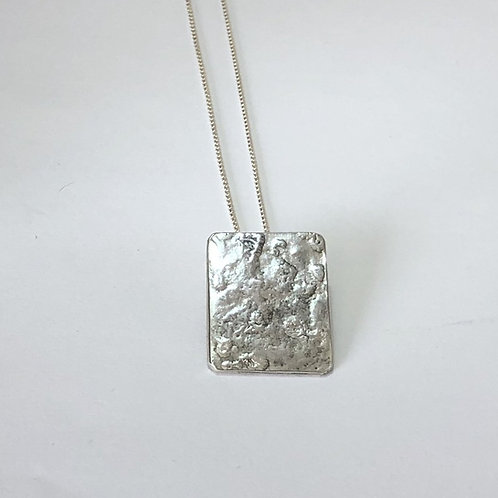 Rectangular Reticulated Pendant – Textured 925 Sterling Silver