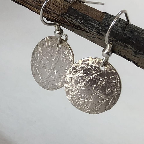 Large Round Disc Earrings - Cross Hatch Texture - 925 Sterling Silver