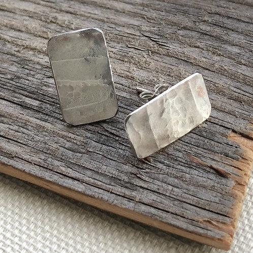 Rectangular Wave Earrings – Hand Cut - 925 Sterling Silver