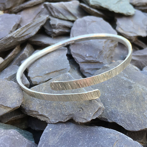 Made To Order - D Shaped Wrap Over Bangle -925 Sterling Silver