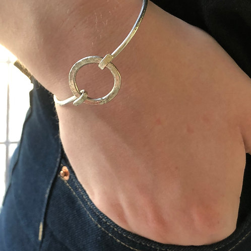 Made To Order -Silver Bangle with Round Clasp -925 Sterling Silver