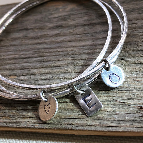Made To Order -Single Bangle with Round or Rectangular Charm-925 Sterling Silver
