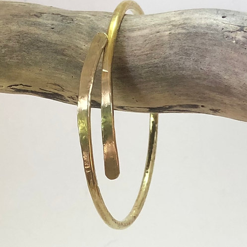 Brass Bangle Extended Cross Over - Thin