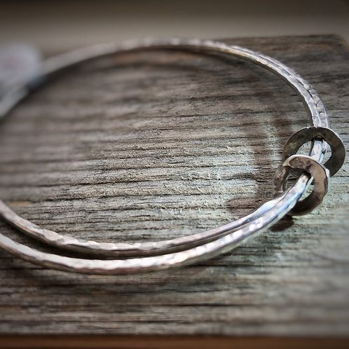Made To Order -Double Bangle with 2 Individual Rings - Solid 925 Sterling Silver