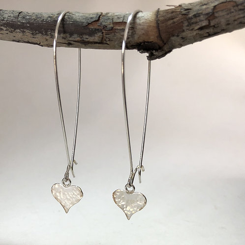 Small Heart Long Drop Earrings – Hammered Texture - 925 Sterling Silver