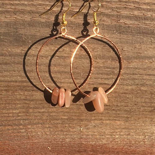 Round Hoop Earrings with 3 Irregular Beads  - Copper and Semi Precious Beads