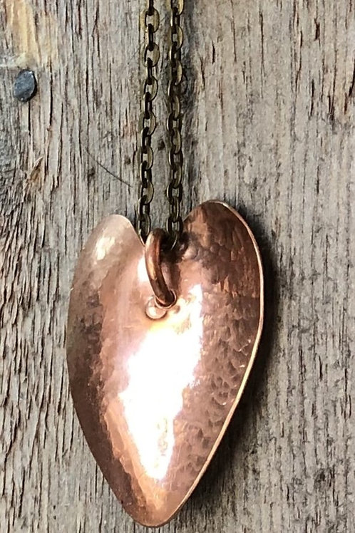 Small Heart Pendant - Hand Cut - Copper