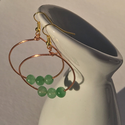 Round Large Hoop Earrings with 3 Beads  - Copper and Semi Precious Green Aventur