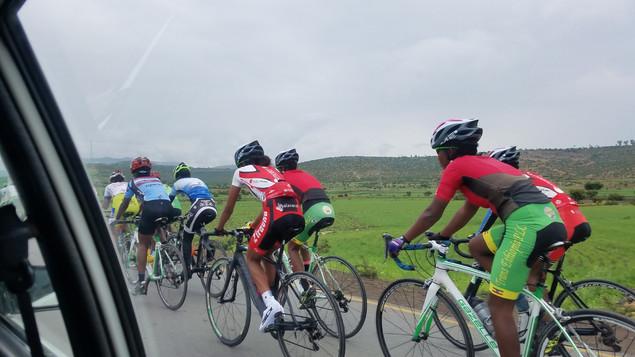 Cyclelist riding in the mountainous region in Mekelle, Ethiopia