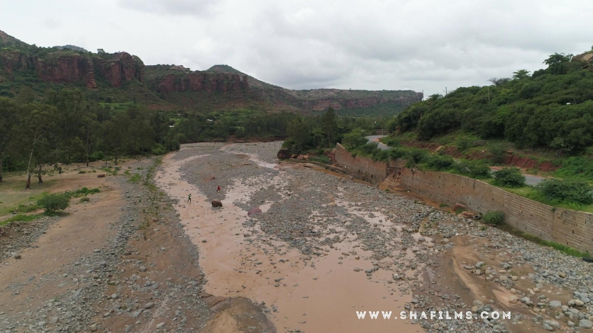 Aerial view of mountainous region in Mekelle, Ethiopia