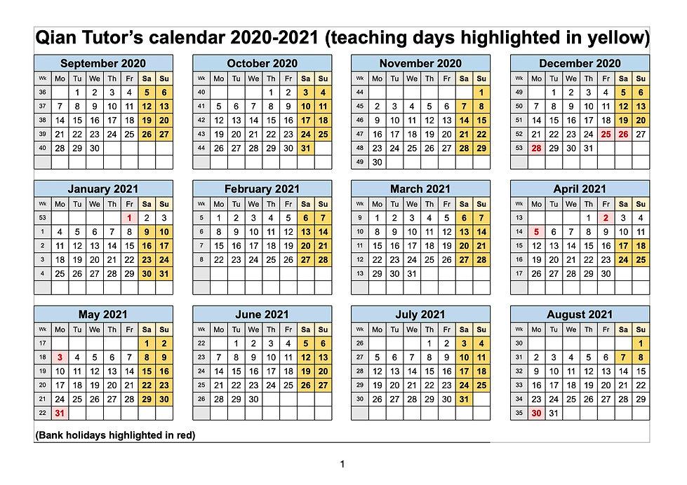 Qian Tutor calendar 2020-2021 - Academic