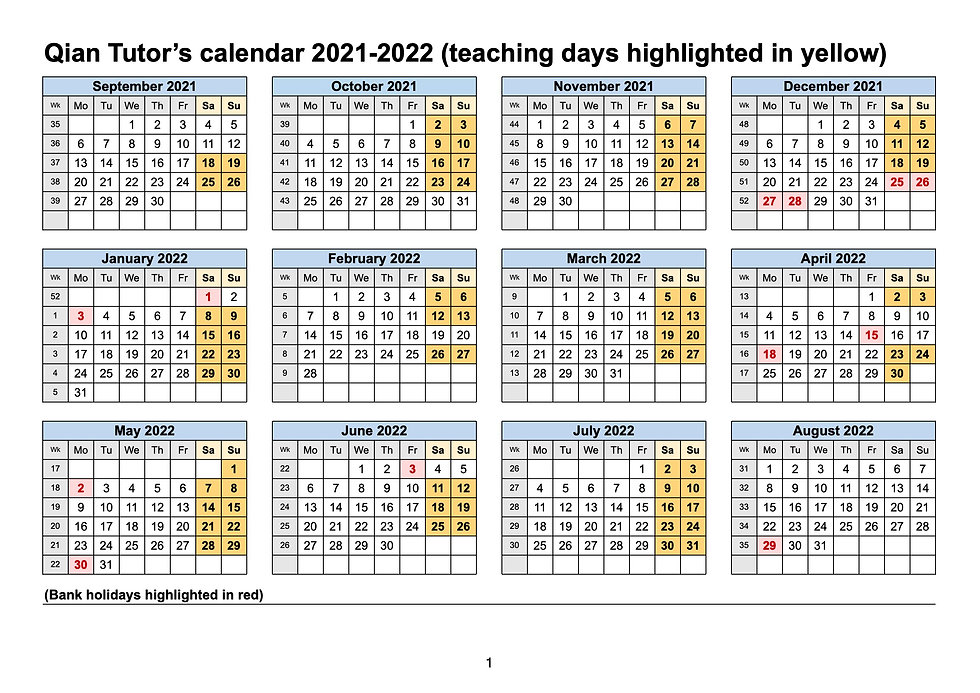 Qian Tutor's calendar 2021-2022 (teachin