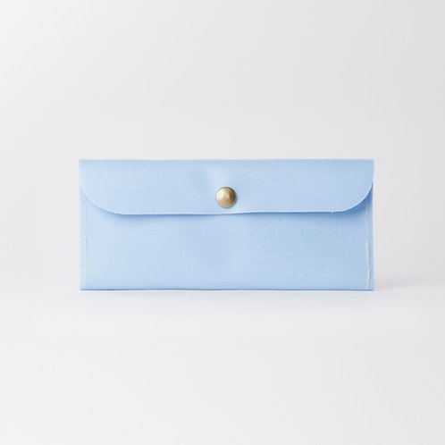 slim long wallet blue