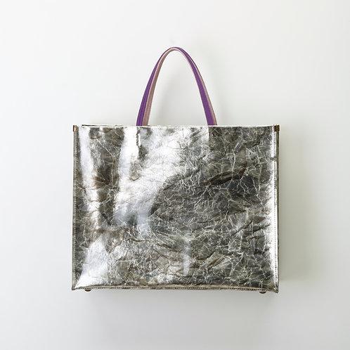 [×Traditional craftsman] Hand-fed silver leaf shopper bag (Kyogumi string)