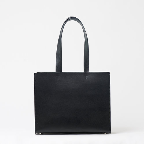 leather shopper bag black vertical/horizontal