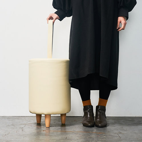 leather stool natural/black