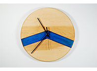 Chevron Clock in Blue