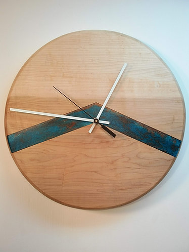 Chevron Clock with Blue/Copper Resin