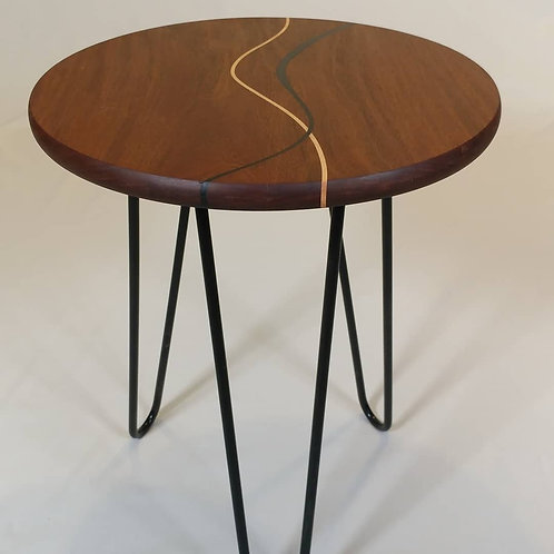 Ipe Wood Side Table with maple and resin curves