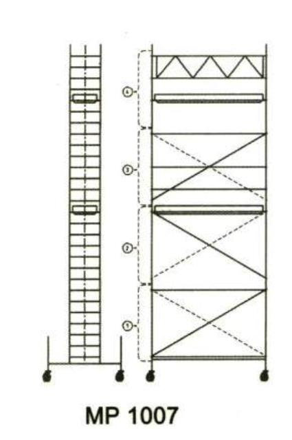 Alumīnija tornis 2.85x0.75x5m, Šaurais (N-5MS)