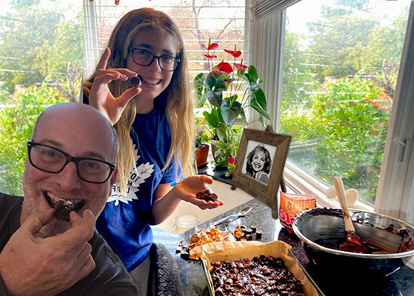 David & Tessa Lilienstein making Lois' Brownies