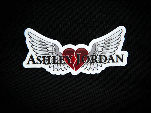 Ashley Jordan White Angel Wings with Red Heart Sticker
