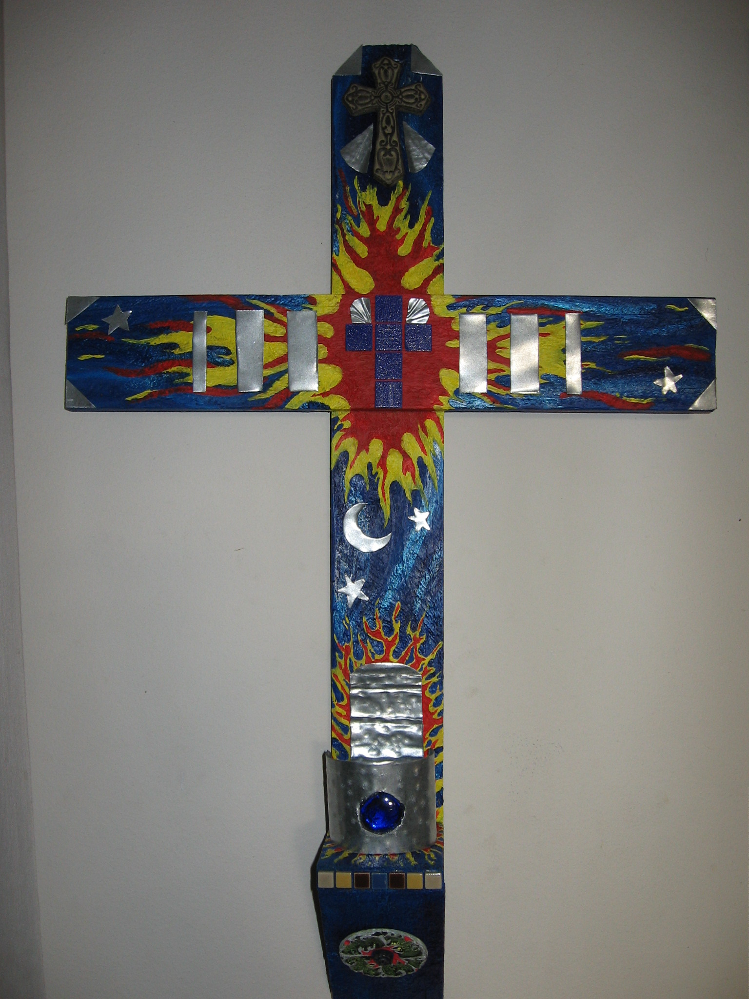 blue flame cross with votive candle 1