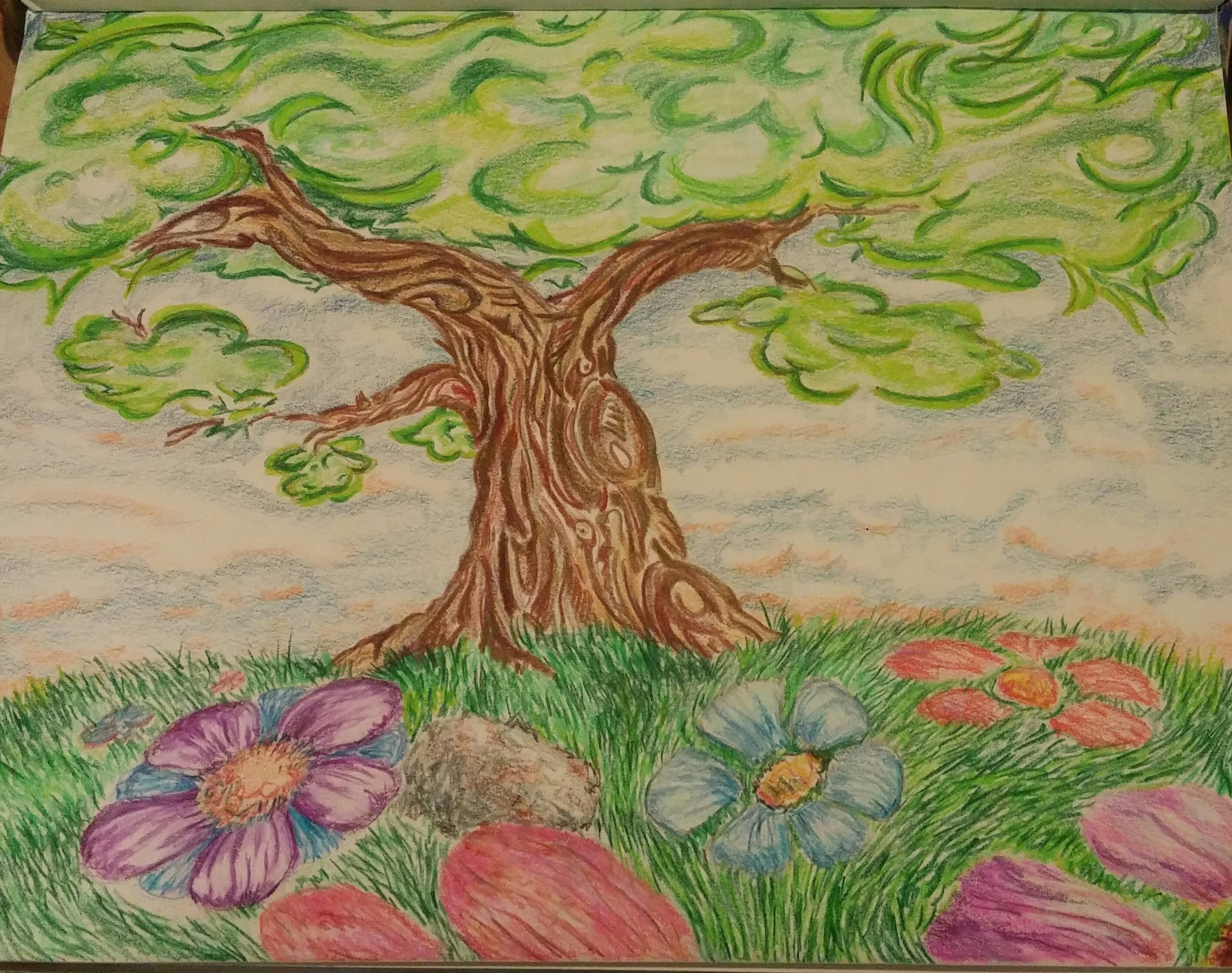 Colored pencil.Tree.01