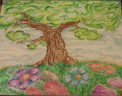 Colored pencil.Tree.01