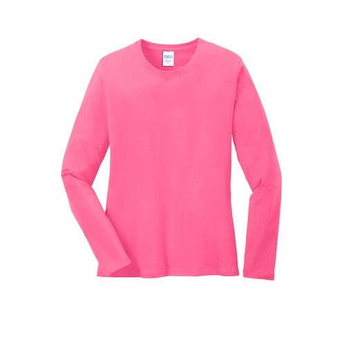Peeking Pom LPC54LS Port & Company® Ladies Long Sleeve Core Cotton Tee