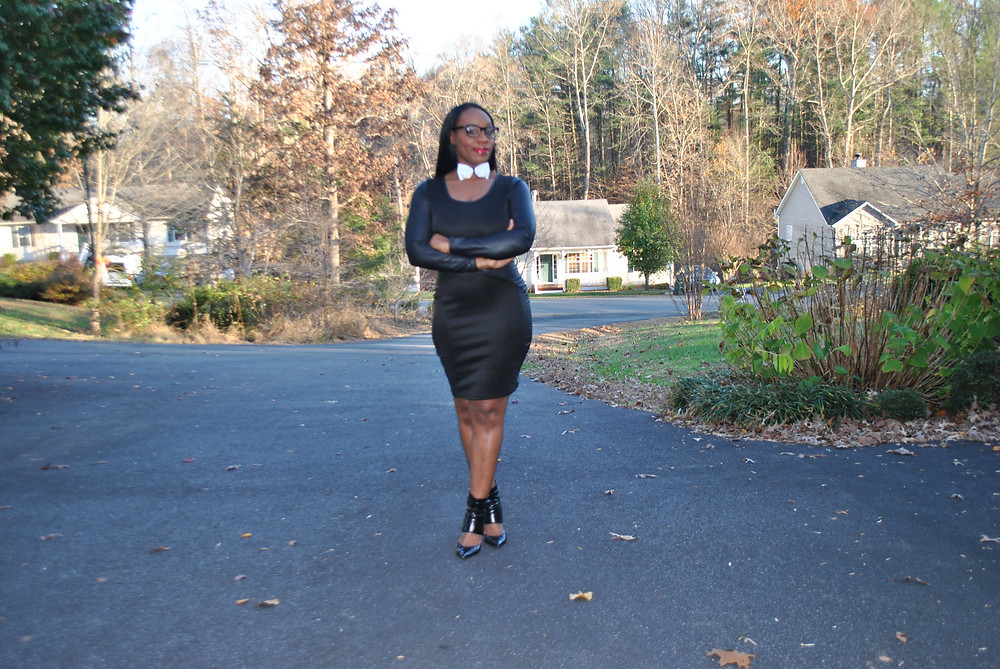 White Bow Tie with black and gold accents; Black dress courtesy of Ross Unit, LLC