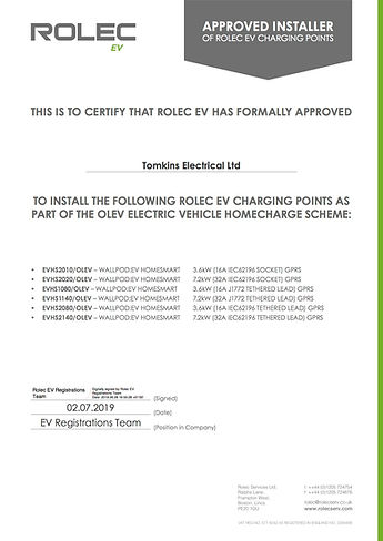 Tomkins Electrical Ltd - Rolec Approved