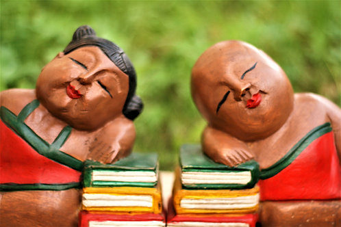 Hand-carved Wooden Male and Female Bookend Set  (small / big )
