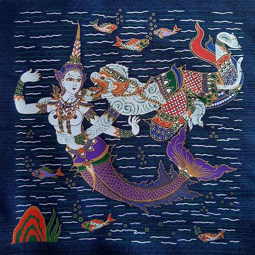 """""""Suvannamaccha & Hanuman"""" Thai Silk Print Painting"""