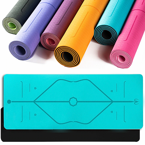 Eco-Friendly Bicolour Yoga Mat with Position Lines & Carry Bag