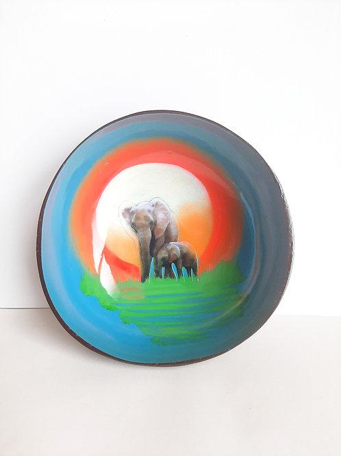Single Mum & Baby Elephant Coconut Bowl