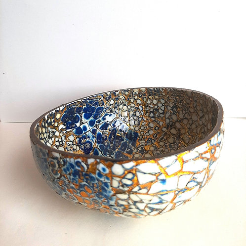 Single Blue, Gold & White Fully Lacquered Coconut Shell