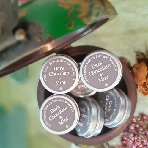 Dark Chocolate & Mint Organic Lip Balm with Melissa Oil