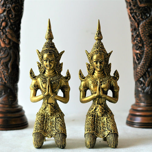 Gold Thai Thepphanom Pair Statue