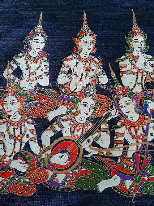 """Thai Lanna Culture Unity"" Thai Silk Print Painting"