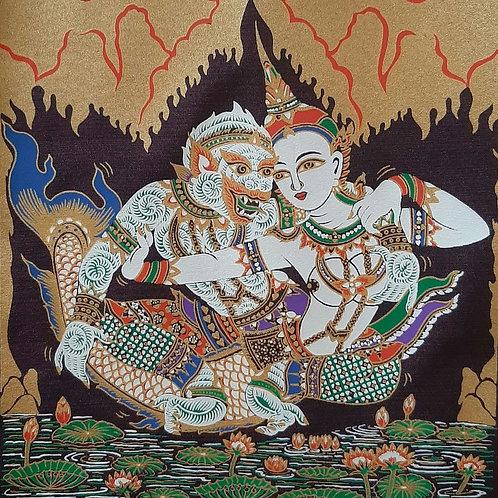 """Suvannamaccha in Love"" Thai Silk Print Painting"