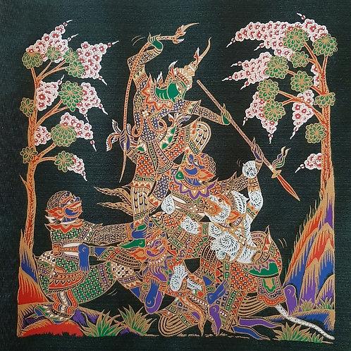 """Nang Seda and Hannuman"" Thai Silk Print Painting"