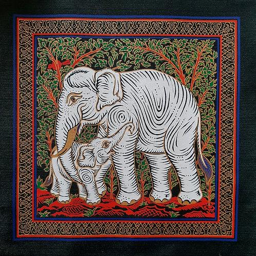 """Family Kingdom"" Thai Silk Print Painting"