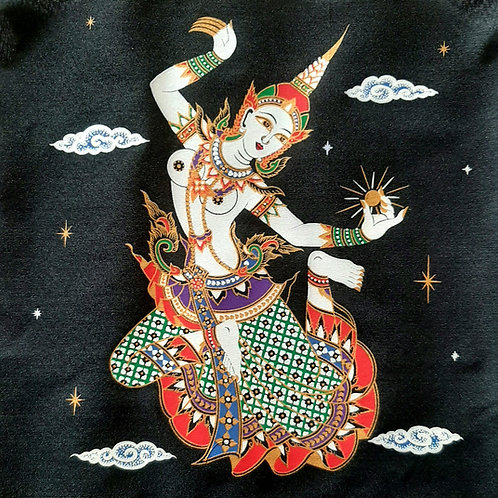 """Dancing Stars Goddess"" Thai  Silk Print Painting"