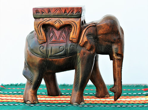 Wood Carved Elephant Stool