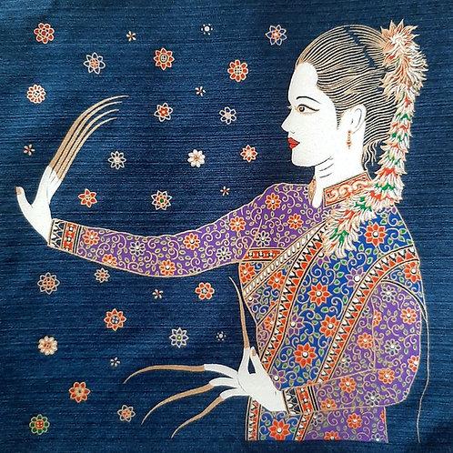 """Lanna Thai Lady"" Thai Silk Print Painting"